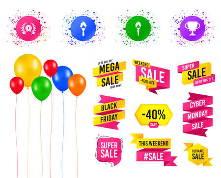 Balloons party. Sales banners. First place award cup icons. Laurel wreath sign. Torch fire flame symbol. Prize for winner. Birthday event. Trendy design. Vector