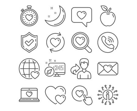 Set of Web love, Update relationships and Valentine icons. Hearts, Search love and Like button signs. Heartbeat timer symbol. Social network, Romantic relationships, Dating service. Internet dating Stok Fotoğraf - 124745093