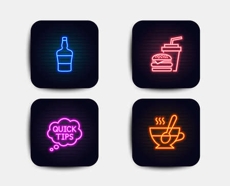 Neon glow lights. Set of Quick tips, Scotch bottle and Hamburger icons. Tea cup sign. Helpful tricks, Brandy alcohol, Burger with drink. Coffee with spoon.  Neon icons. Glowing light banners. Vector Illusztráció