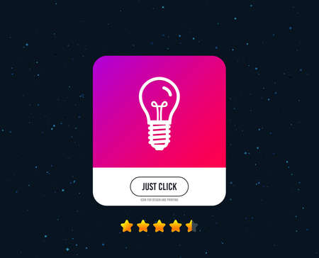 Light bulb icon. Lamp E14 screw socket symbol. Illumination sign. Web or internet icon design. Rating stars. Just click button. Vector