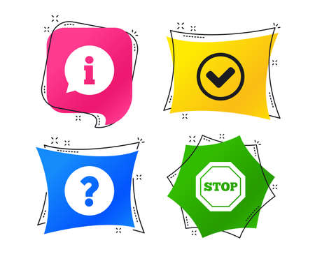 Information icons. Stop prohibition and question FAQ mark signs. Approved check mark symbol. Geometric colorful tags. Banners with flat icons. Trendy design. Vector
