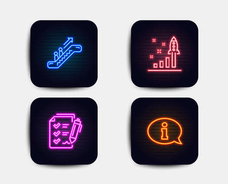 Neon glow lights. Set of Escalator, Survey checklist and Development plan icons. Information sign. Elevator, Report, Strategy. Info center.  Neon icons. Glowing light banners. Vector Imagens - 118160078