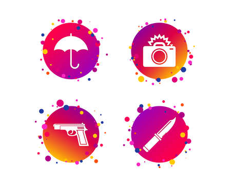 Gun weapon icon.Knife, umbrella and photo camera with flash signs. Edged hunting equipment. Prohibition objects. Gradient circle buttons with icons. Random dots design. Vector Illustration
