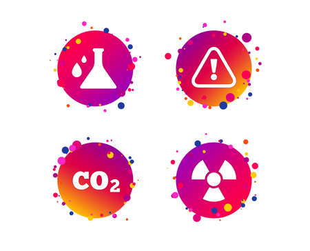 Attention and radiation icons. Chemistry flask sign. CO2 carbon dioxide symbol. Gradient circle buttons with icons. Random dots design. Vector