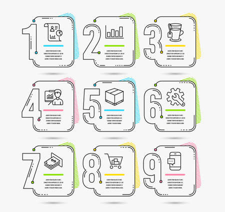 Infographic template with numbers 9 options. Set of Atm money, Presentation and Report diagram icons. Report, Internet shopping and Tea signs. Vector  イラスト・ベクター素材