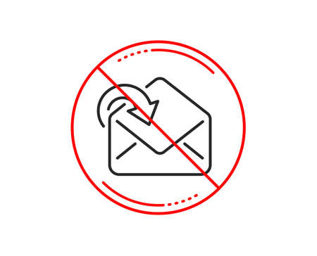 No or stop sign. Receive Mail download line icon. Incoming Messages correspondence sign. E-mail symbol. Caution prohibited ban stop symbol. No  icon design.  Vector Illusztráció