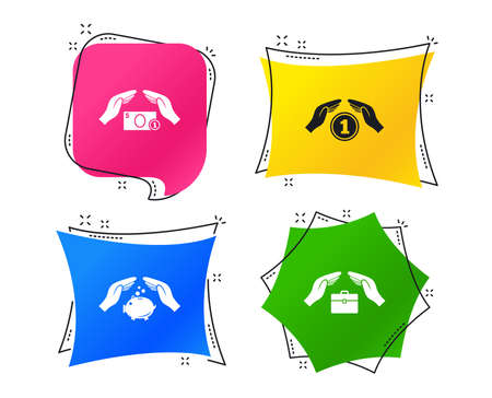 Hands insurance icons. Piggy bank moneybox symbol. Money savings insurance signs. Travel luggage and cash coin symbols. Geometric colorful tags. Banners with flat icons. Trendy design. Vector