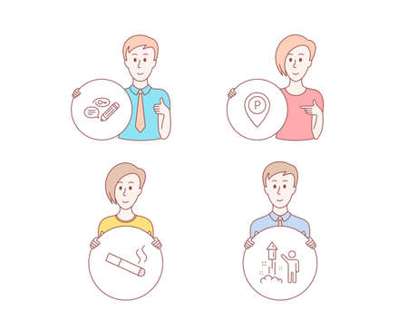 People hand drawn style. Set of Keywords, Parking and Smoking icons. Fireworks sign. Pencil with key, Park pointer, Cigarette. Party pyrotechnic.  Character hold circle button. Man with like hand Illustration