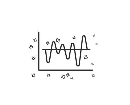 Investment chart line icon. Economic graph sign. Stock exchange symbol. Business finance. Geometric shapes. Random cross elements. Linear Stock analysis icon design. Vector