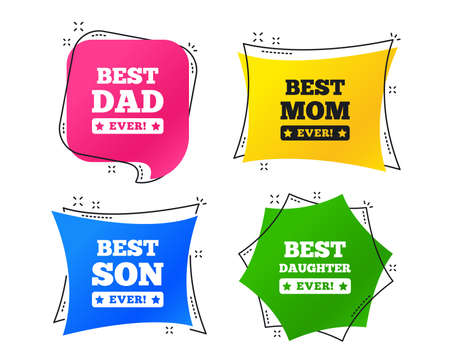 Best mom and dad, son and daughter icons. Awards with exclamation mark symbols. Geometric colorful tags. Banners with flat icons. Trendy design. Vector