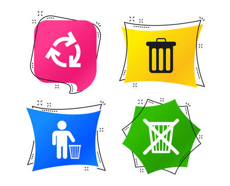 Recycle bin icons. Reuse or reduce symbols. Human throw in trash can. Recycling signs. Geometric colorful tags. Banners with flat icons. Trendy design. Vector 向量圖像