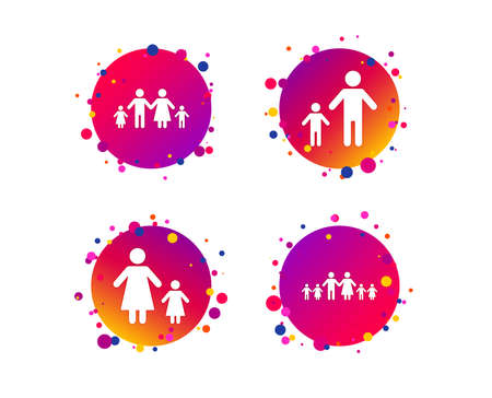 Large family with children icon. Parents and kids symbols. One-parent family signs. Mother and father divorce. Gradient circle buttons with icons. Random dots design. Vector