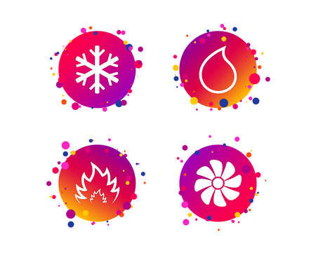 HVAC icons. Heating, ventilating and air conditioning symbols. Water supply. Climate control technology signs. Gradient circle buttons with icons. Random dots design. Vector