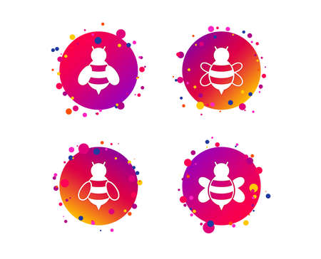 Honey bees icons. Bumblebees symbols. Flying insects with sting signs. Gradient circle buttons with icons. Random dots design. Vector