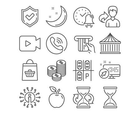 Set of Coins, Online buying and Parking place icons. Video camera, Carousels and Alarm bell signs. Time hourglass, Credit card and Hourglass symbols. Cash money, Shopping cart, Transport. Vector