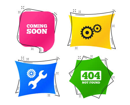 Coming soon icon. Repair service tool and gear symbols. Wrench sign. 404 Not found. Geometric colorful tags. Banners with flat icons. Trendy design. Vector Illustration