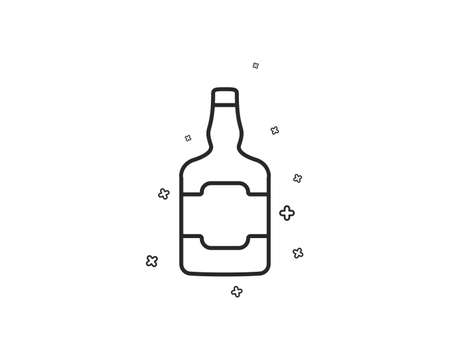 Whiskey bottle line icon. alcohol sign. Geometric shapes. Random cross elements. Linear Whiskey bottle icon design. Vector Standard-Bild - 118160295