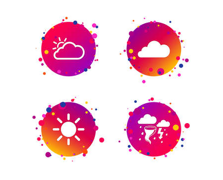 Weather icons. Cloud and sun signs. Storm or thunderstorm with lightning symbol. Gale hurricane. Gradient circle buttons with icons. Random dots design. Vector Illustration