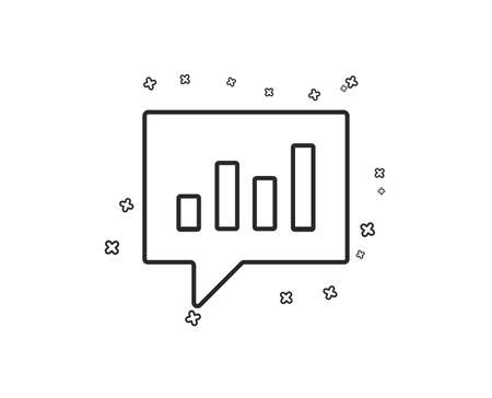 Chart line icon. Report graph or Sales growth sign in speech bubble. Analysis and Statistics data symbol. Geometric shapes. Random cross elements. Linear Analytical Chat icon design. Vector