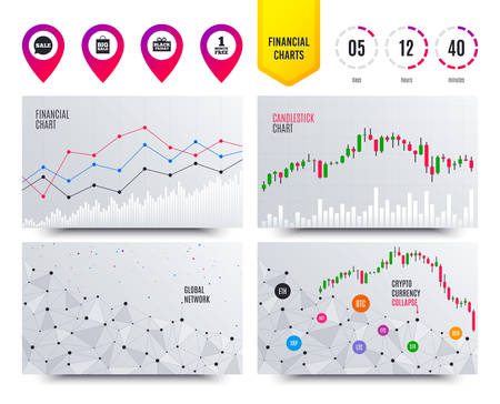 Financial planning charts. Sale speech bubble icon. Black friday gift box symbol. Big sale shopping bag. First month free sign. Cryptocurrency stock market graphs icons. Trendy design. Vector
