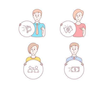 People hand drawn style. Set of Push cart, Communication and Piggy sale icons. Money transfer sign. Express delivery, Users talking, Discounts. Cash delivery.  Character hold circle button. Vector
