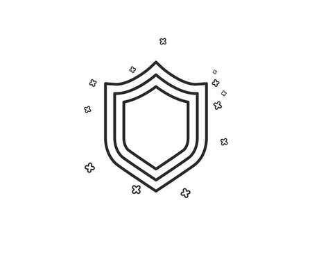 Shield line icon. Protection or Security sign. Defence or Guard symbol. Geometric shapes. Random cross elements. Linear Security icon design. Vector Illustration