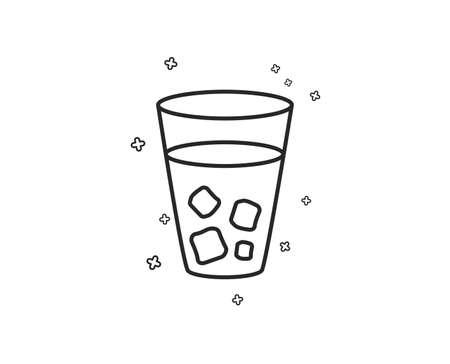 Ice tea line icon. Soda drink sign. Fresh cold beverage symbol. Geometric shapes. Random cross elements. Linear Ice tea icon design. Vector