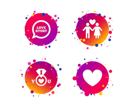 Valentine day love icons. I love you ring symbol. Couple lovers sign. Love story speech bubble. Gradient circle buttons with icons. Random dots design. Vector