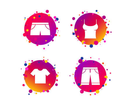 Clothes icons. T-shirt and bermuda shorts signs. Swimming trunks symbol. Gradient circle buttons with icons. Random dots design. Vector