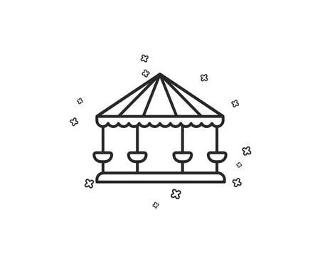 Carousels line icon. Amusement park sign. Geometric shapes. Random cross elements. Linear Carousels icon design. Vector Иллюстрация
