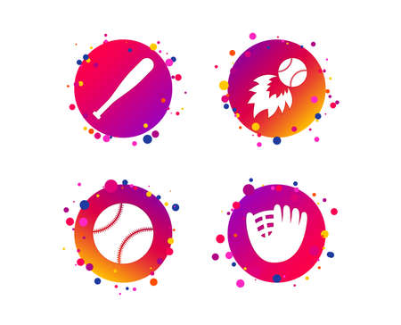 Baseball sport icons. Ball with glove and bat signs. Fireball symbol. Gradient circle buttons with icons. Random dots design. Vector