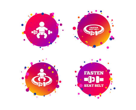 Fasten seat belt icons. Child safety in accident symbols. Vehicle safety belt signs. Gradient circle buttons with icons. Random dots design. Vector