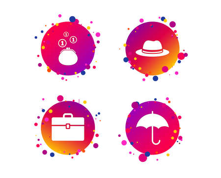 Clothing accessories icons. Umbrella and headdress hat signs. Wallet with cash coins, business case symbols. Gradient circle buttons with icons. Random dots design. Vector