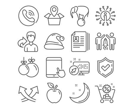 Set of Christmas ball, Elephant on ball and Intersection arrows icons. Cv documents, Santa hat and Partnership signs. Shopping cart, Tablet pc and Package location symbols. Vector Stock Vector - 124745156