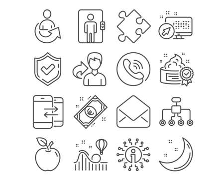 Set of Euro money, Share and Roller coaster icons. Mail, Phone communication and Strategy signs. Restructuring, Cream and Elevator symbols. Cash, Referral person, Attraction park. Vector Çizim