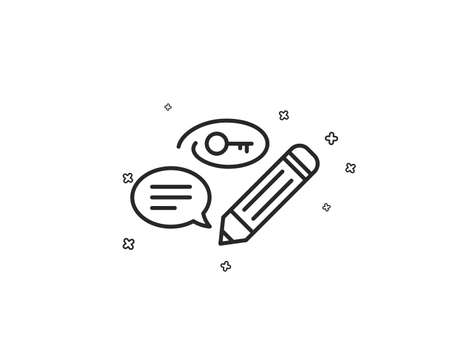 Keywords line icon. Pencil with key symbol. Marketing strategy sign. Geometric shapes. Random cross elements. Linear Keywords icon design. Vector Illustration
