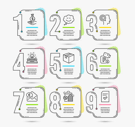 Infographic template with numbers 9 options. Set of Speech bubble, Parking security and Typewriter icons. Parcel, Euro money and Income money signs. Shopping bags, Writer and Checked file symbols