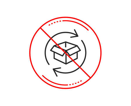 No or stop sign. Exchange of goods line icon. Return parcel sign. Package tracking symbol. Caution prohibited ban stop symbol. No  icon design.  Vector