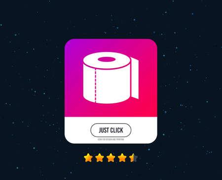 Toilet paper sign icon. WC roll symbol. Web or internet icon design. Rating stars. Just click button. Vector Archivio Fotografico - 124745176