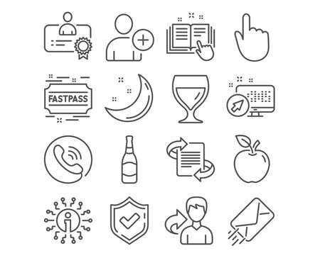 Set of E-mail, Add user and Fastpass icons. Beer bottle, Hand click and Technical documentation signs. Marketing, Wine glass and Certificate symbols. Mail delivery, Profile settings, Entrance ticket Illustration