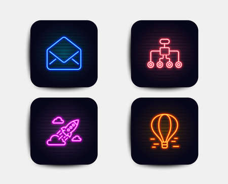 Neon glow lights. Set of Mail, Restructuring and Startup rocket icons. Air balloon sign. E-mail, Delegate, Business innovation. Flight travel.  Neon icons. Glowing light banners. Vector