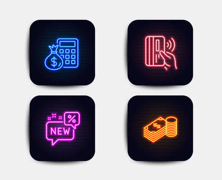 Neon glow lights. Set of New, Contactless payment and Finance calculator icons. Savings sign. Discount, Bank money, Calculate money. Finance currency.  Neon icons. Glowing light banners. Vector