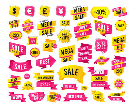 Sales banner. Super mega discounts. Dollar, Euro, Pound and Yen currency icons. USD, EUR, GBP and JPY money sign symbols. Black friday. Cyber monday. Vector