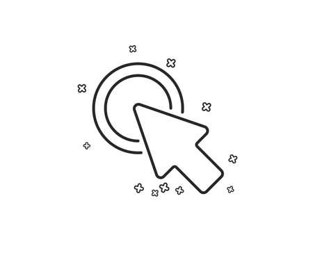 Click here line icon. Push the button sign. Web cursor symbol. Geometric shapes. Random cross elements. Linear Click here icon design. Vector