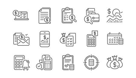 Accounting line icons. Report, Calculator and Checklist. Money linear icon set.  Vector