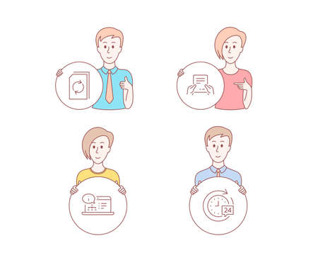 People hand drawn style. Set of Update document, Receive file and Online documentation icons. 24h delivery sign. Refresh file, Hold document, Web engineering. Stopwatch.  Character hold circle button Çizim