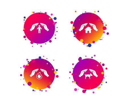 Hands insurance icons. Shelter for pets dogs symbol. Save water drop symbol. House property insurance sign. Gradient circle buttons with icons. Random dots design. Vector Foto de archivo - 124745190