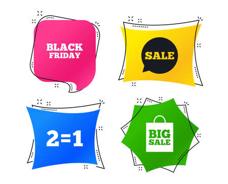 Sale speech bubble icons. Two equals one. Black friday sign. Big sale shopping bag symbol. Geometric colorful tags. Banners with flat icons. Trendy design. Vector