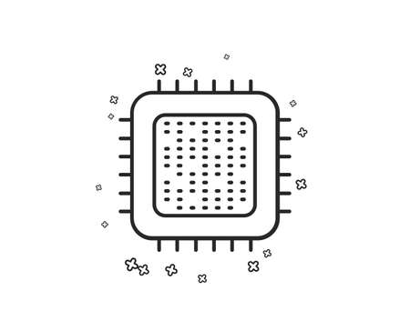 Cpu processor line icon. Computer component sign. Geometric shapes. Random cross elements. Linear Cpu processor icon design. Vector