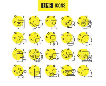Message and Communication icons. Group chat, Conversation and Speech bubbles signs. SMS, Phone alert and Stop talking symbols. Quality futuro design icons. Editable stroke. Vector Ilustração